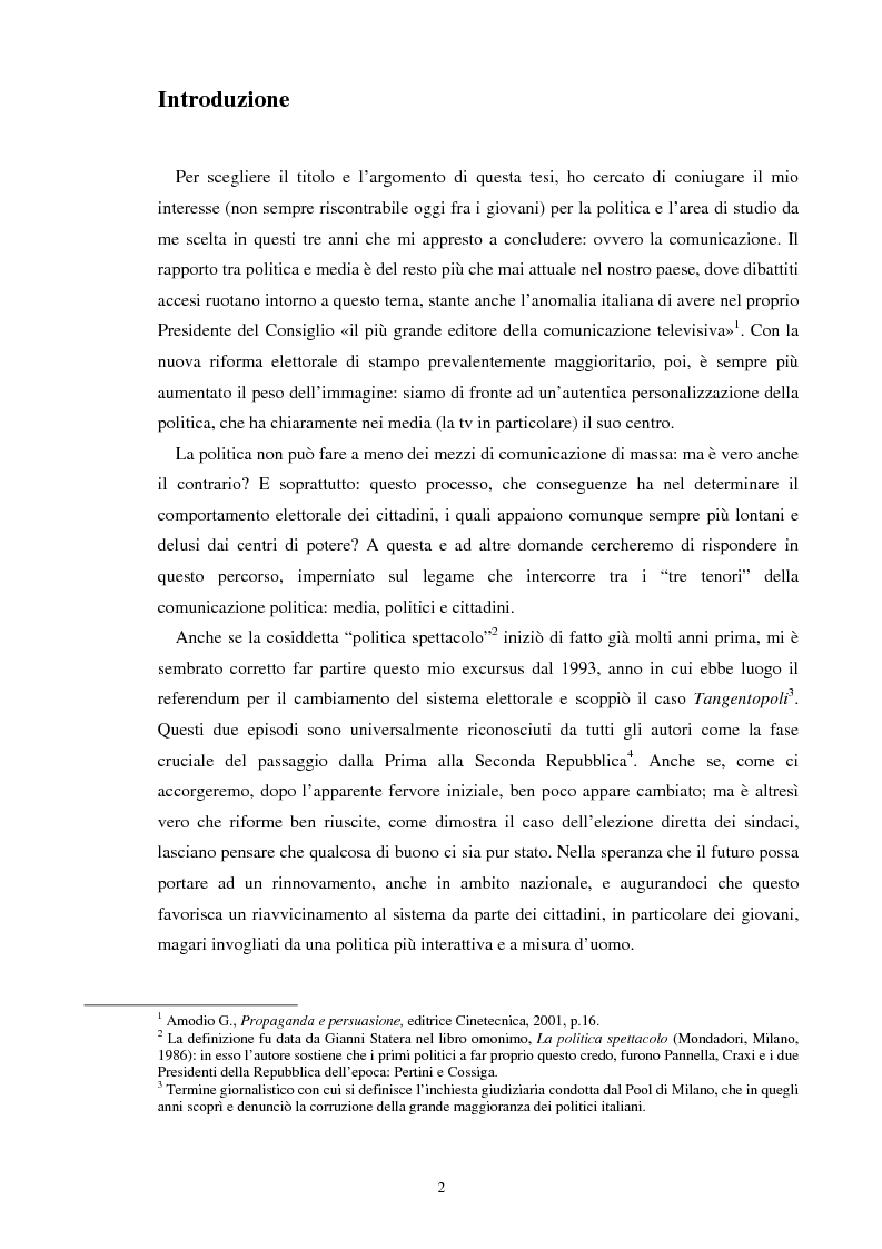 Aspetti della comunicazione politica tra Prima e Seconda Repubblica - Tesi di Laurea