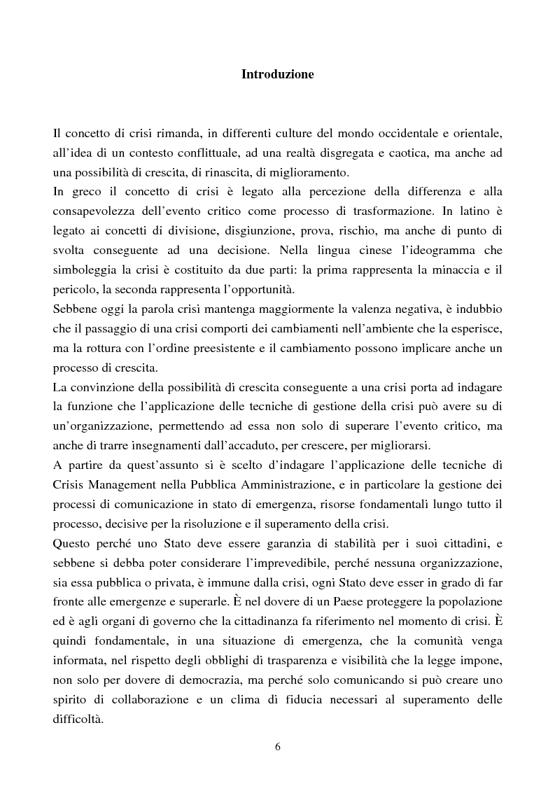 Crisis Management nella Pubblica Amministrazione. Casi e microcasi di crisi nella citt� di Bologna - Tesi di Laurea