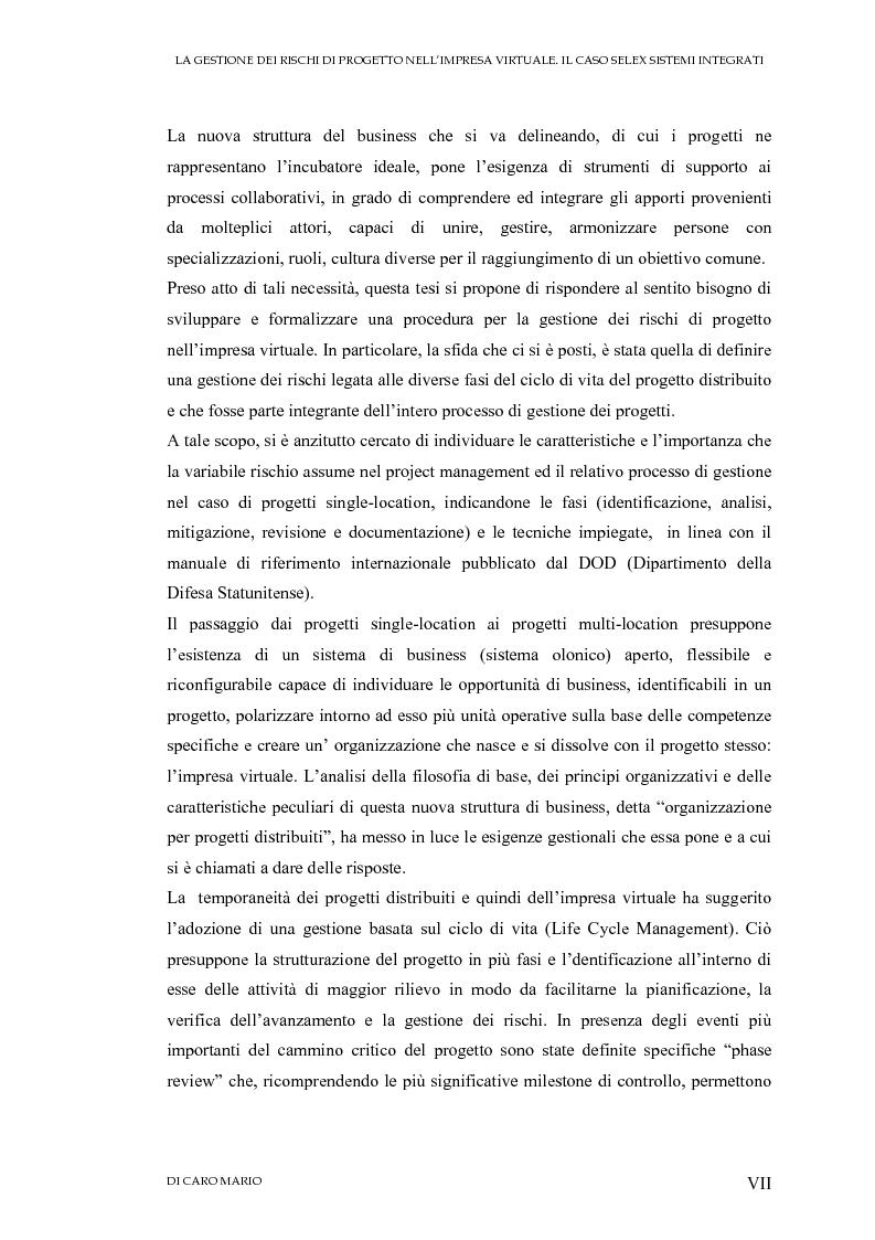 Anteprima della tesi: La gestione dei rischi di progetto nell'impresa virtuale. Il caso Selex Sistemi Integrati, Pagina 3