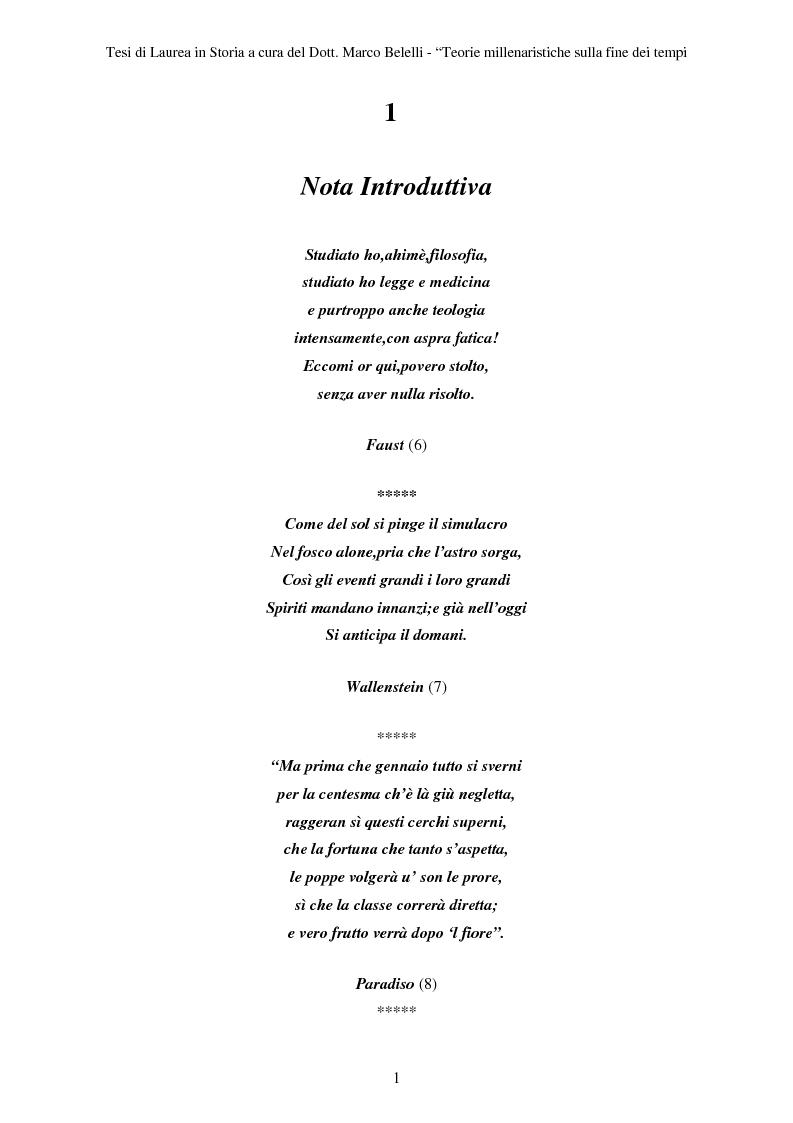 Anteprima della tesi: Teorie Millenaristiche sulla Fine dei Tempi, Pagina 1
