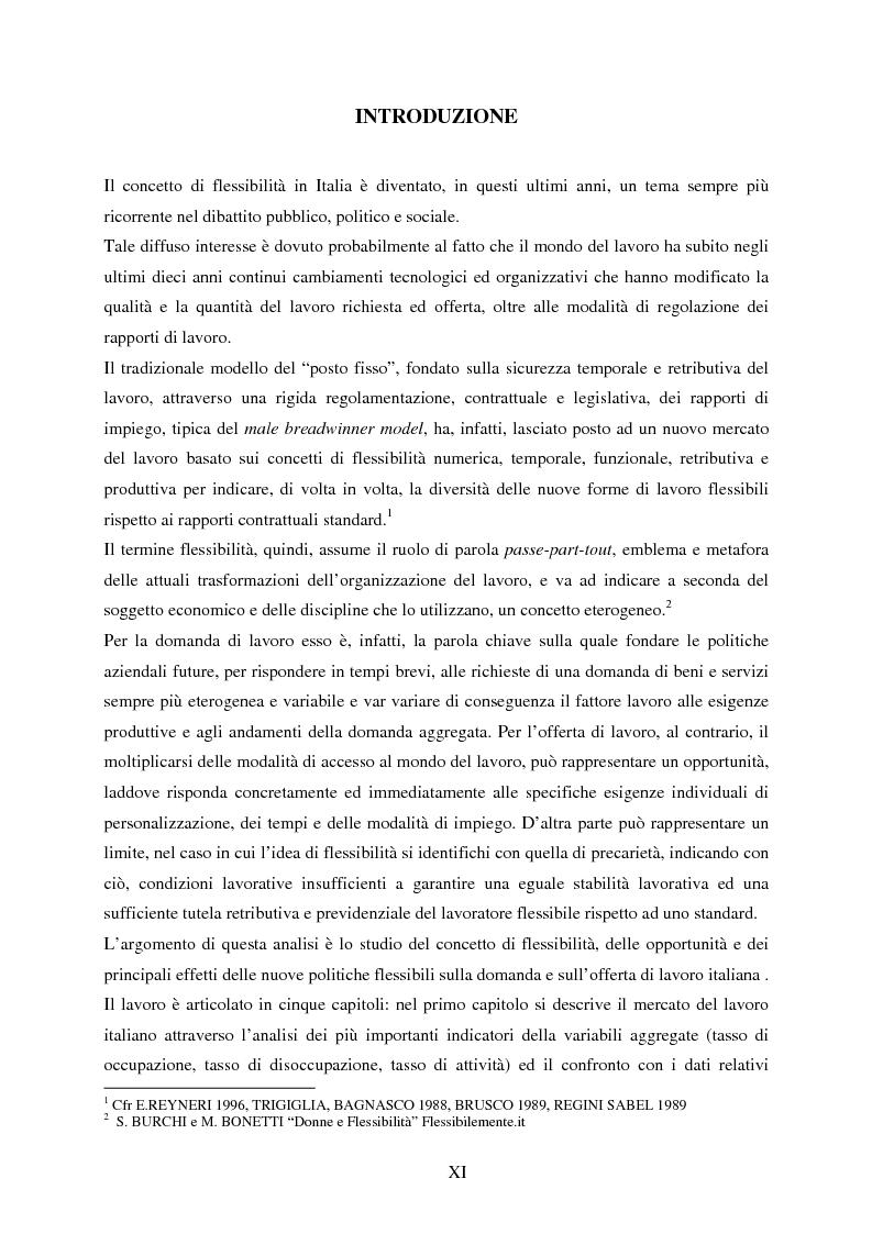 La flessibilit� nel mercato del lavoro: l'esperienza italiana - Tesi di Laurea