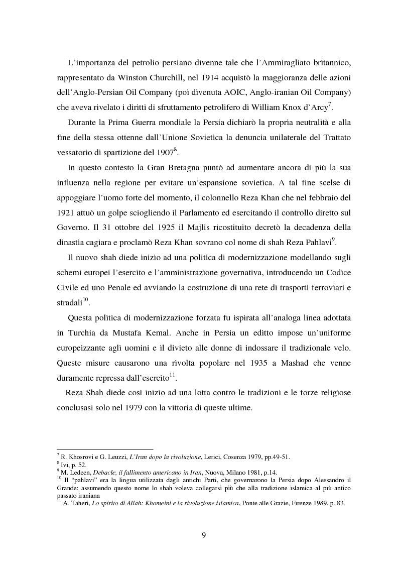 Anteprima della tesi: La rivoluzione khomeinista: l'Iran sciita, il governo islamico e le relazioni internazionali, Pagina 6