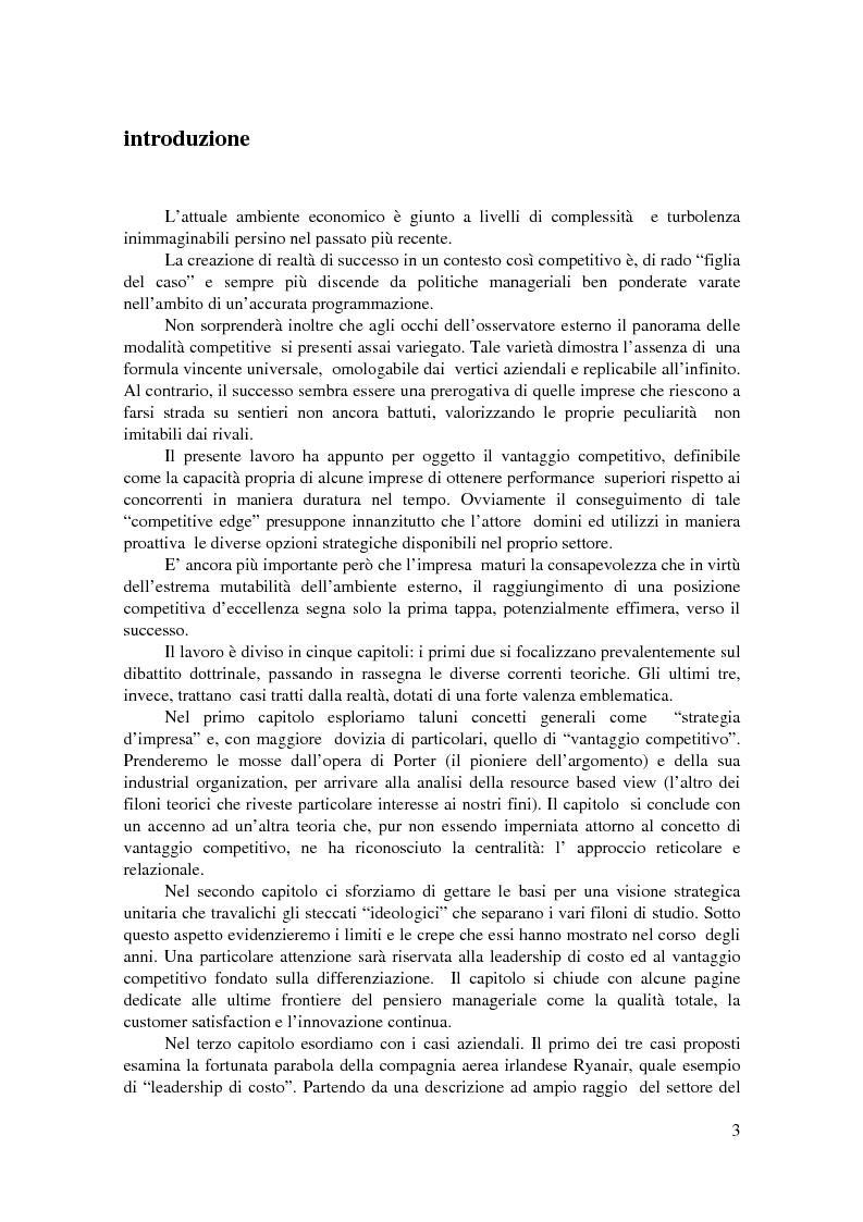 Anteprima della tesi: Conoscere, raggiungere, mantenere il vantaggio competitivo. Analisi di casi aziendali di successo: Ryanair, Illycaffé, Geox, Pagina 1