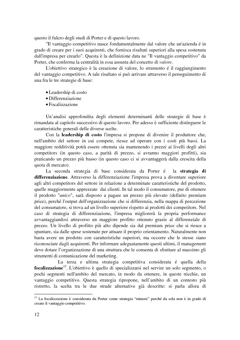 Anteprima della tesi: Conoscere, raggiungere, mantenere il vantaggio competitivo. Analisi di casi aziendali di successo: Ryanair, Illycaffé, Geox, Pagina 10