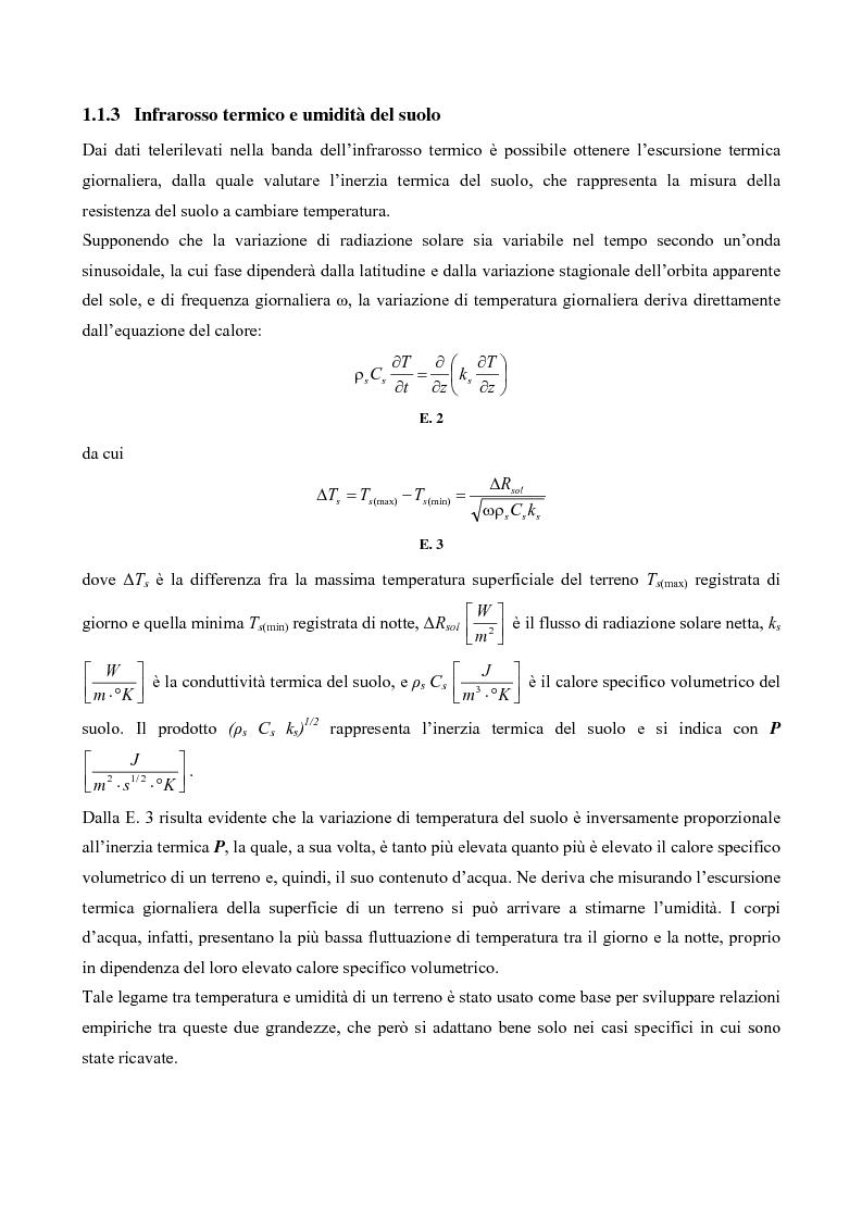 Anteprima della tesi: Tecniche di telerilevamento all'infrarosso termico per la stima dell'umidità del suolo, Pagina 3