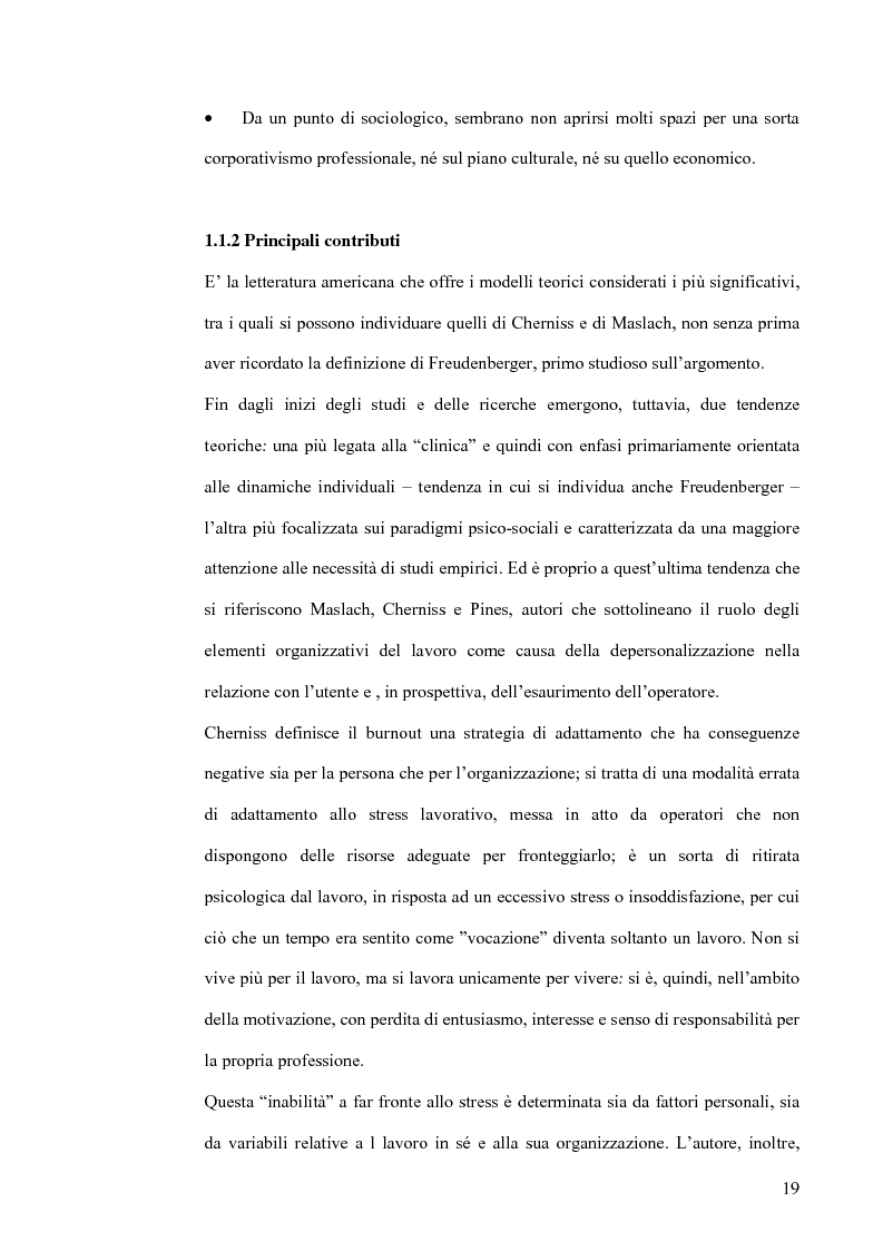 Anteprima della tesi: La diffusione del ''burnout'' nelle professioni educative: aspetti teorici ed applicativi, Pagina 14