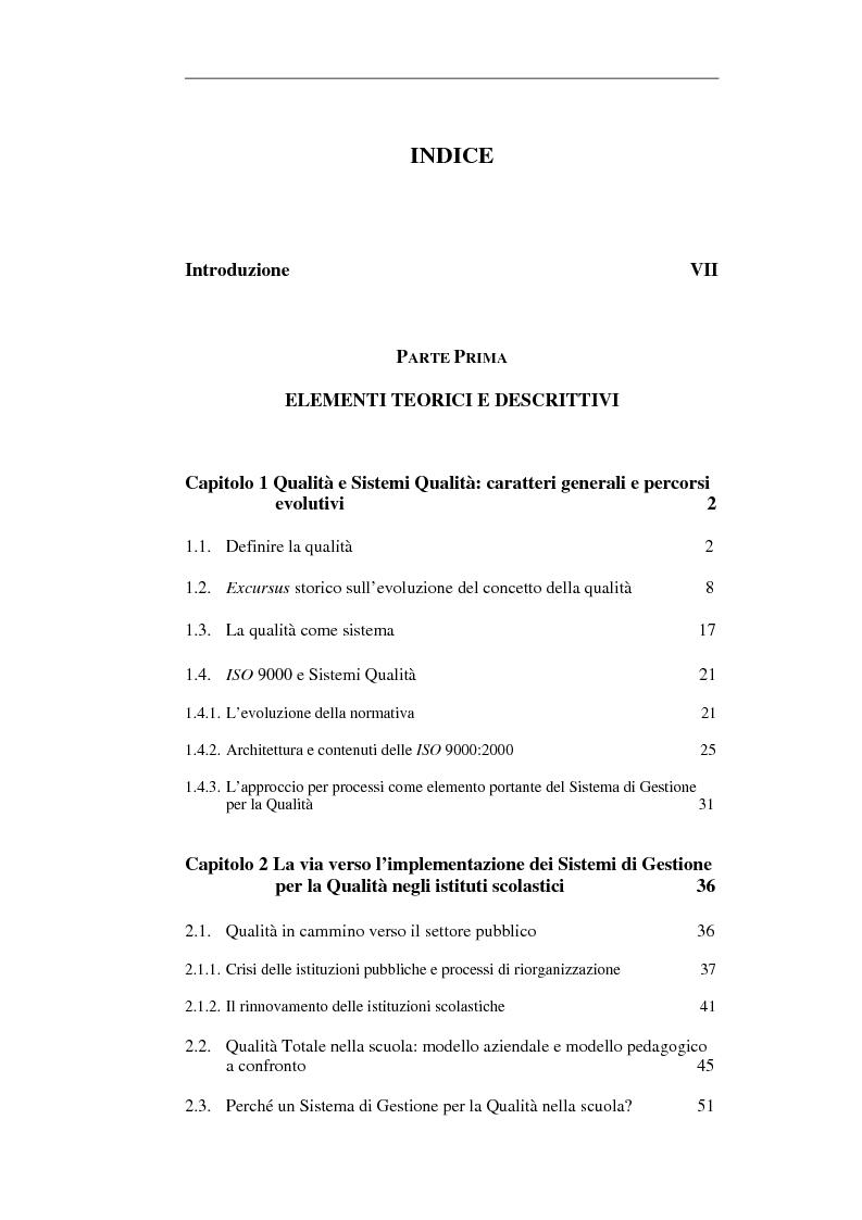 Indice della tesi: Scuola e Sistema Qualità. Un caso di studio, Pagina 1