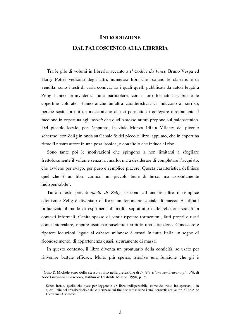 Il caso Zelig: da un successo televisivo a un fenomeno editoriale - Tesi di Laurea