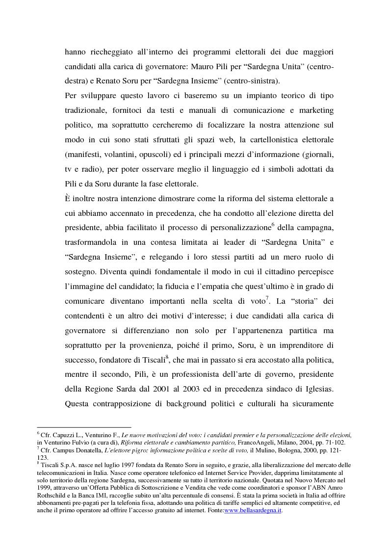 Anteprima della tesi: La comunicazione dei candidati alla Presidenza nella campagna regionale sarda del 2004., Pagina 3