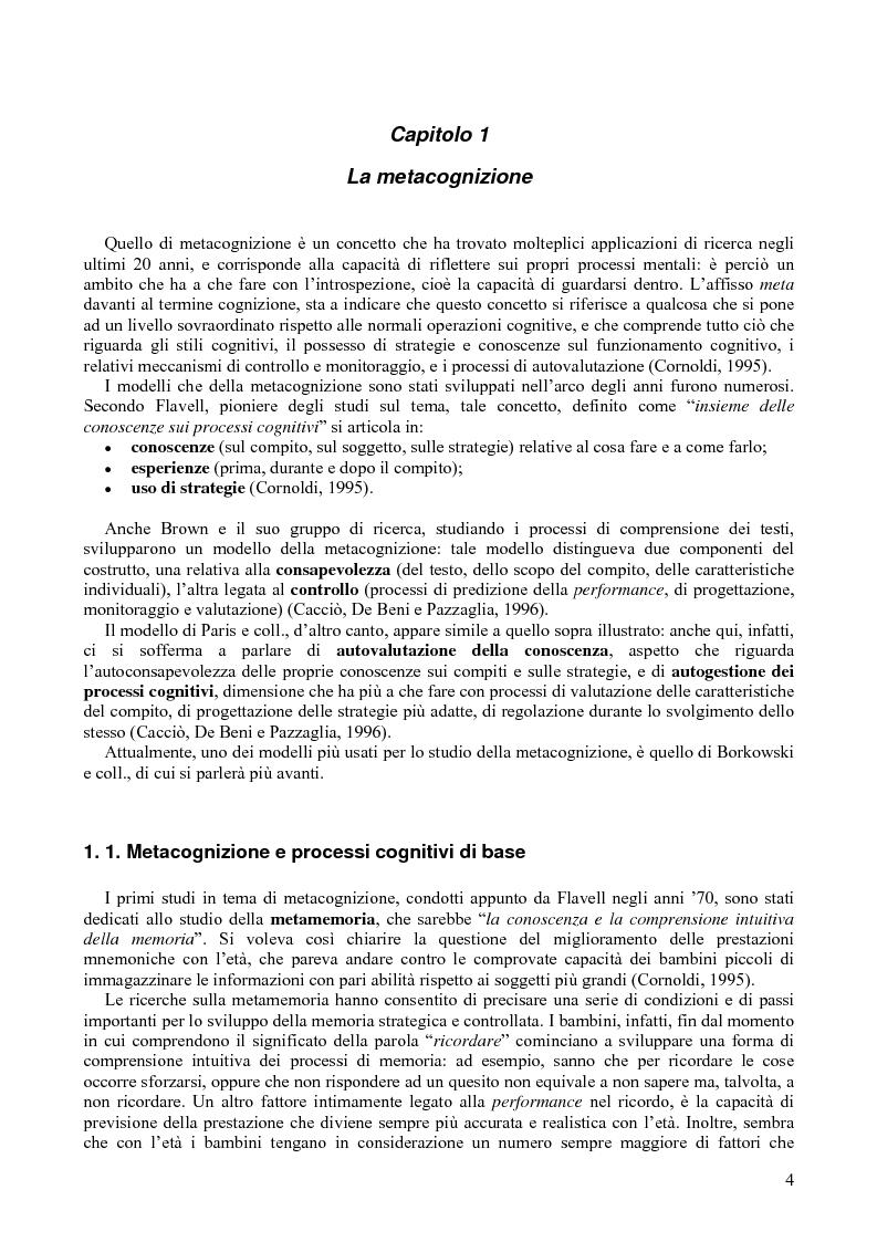 Anteprima della tesi: Metacognizione e abilità di studio: lavoro cooperativo con soggetti con DSA (Disturbi Specifici dell'Apprendimento), Pagina 1