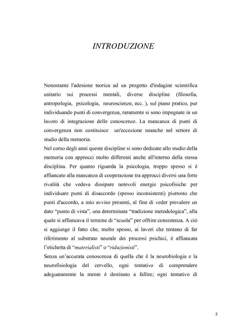 Anteprima della tesi: Studi sulla memoria tra Psicologia Dinamica e Neuroscienze: una rassegna critica, Pagina 1