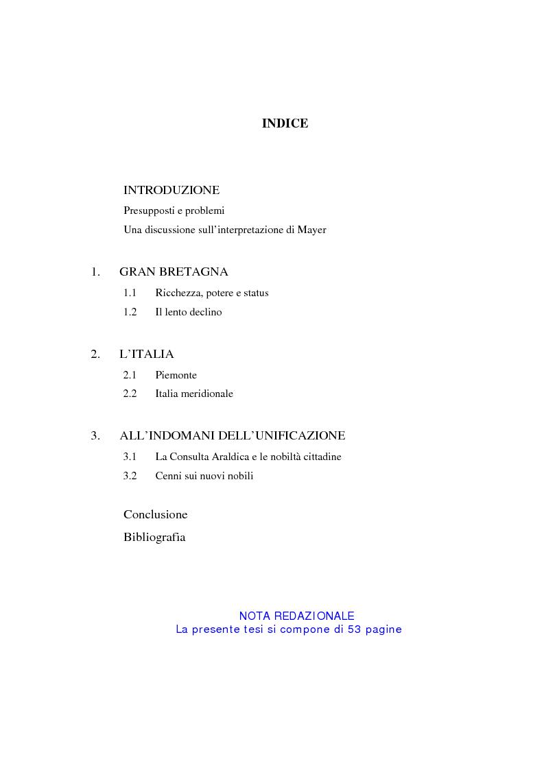 Indice della tesi: L'aristocrazia europea nell'età contemporanea, Pagina 1