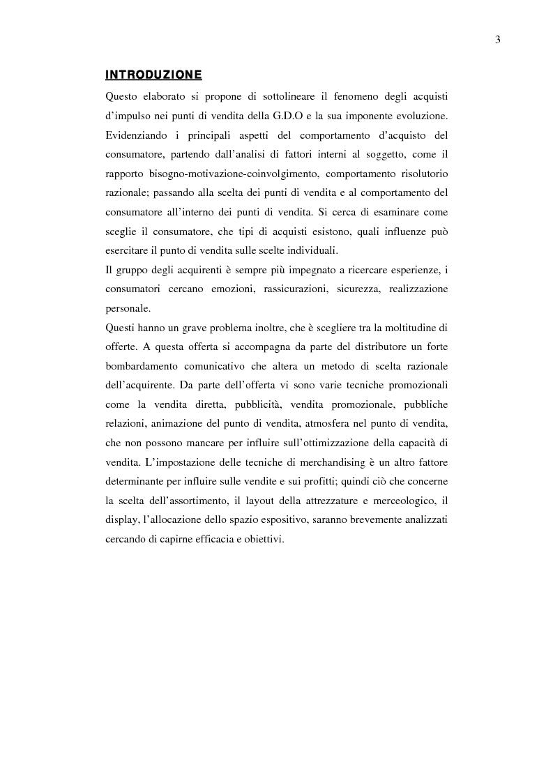 Anteprima della tesi: Gli acquisti d'impulso nei punti di vendita della G.D.O, Pagina 1