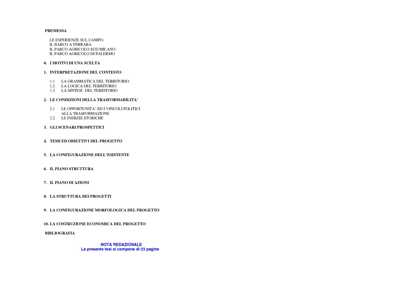 Indice della tesi: La variante Parco Agricolo a Foggia: il parco diffuso di cinta urbana e il polo terziario di frangia urbana., Pagina 1