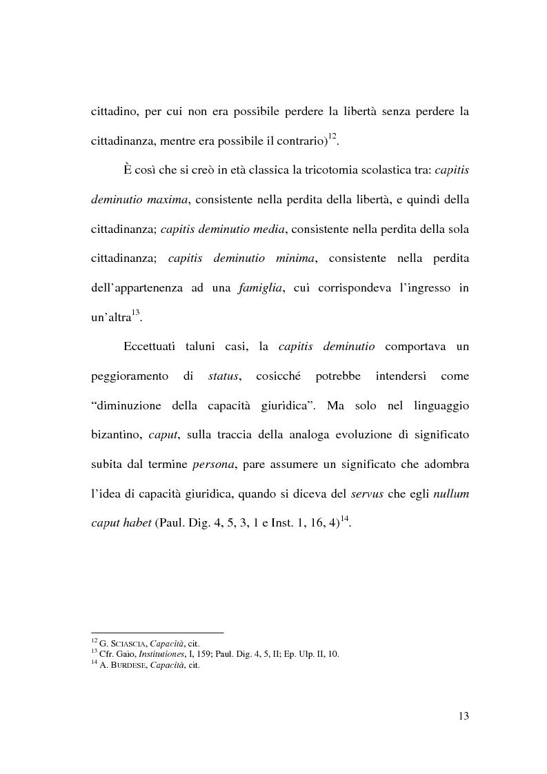 Anteprima della tesi: Art. 1 c.c.: La capacità giuridica. Significato ed evoluzione del concetto., Pagina 9