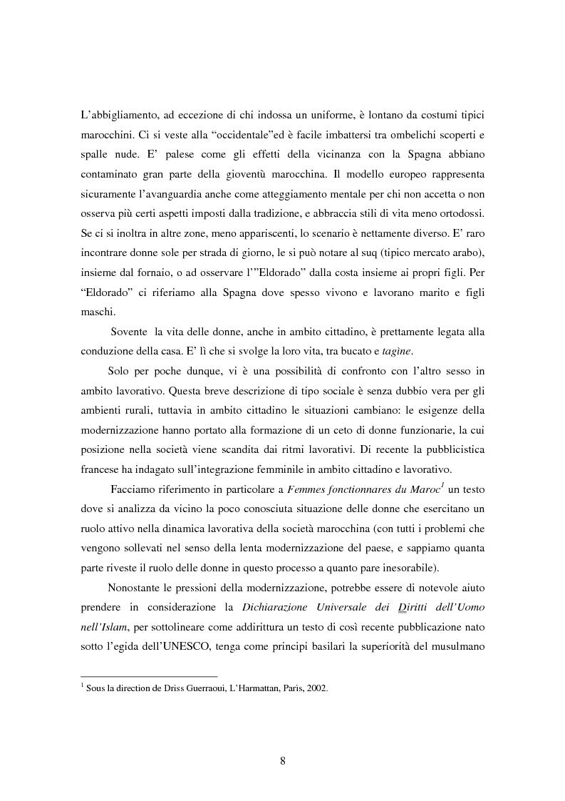 Anteprima della tesi: La condizione della donna in Marocco fra tradizione e modernità, Pagina 5