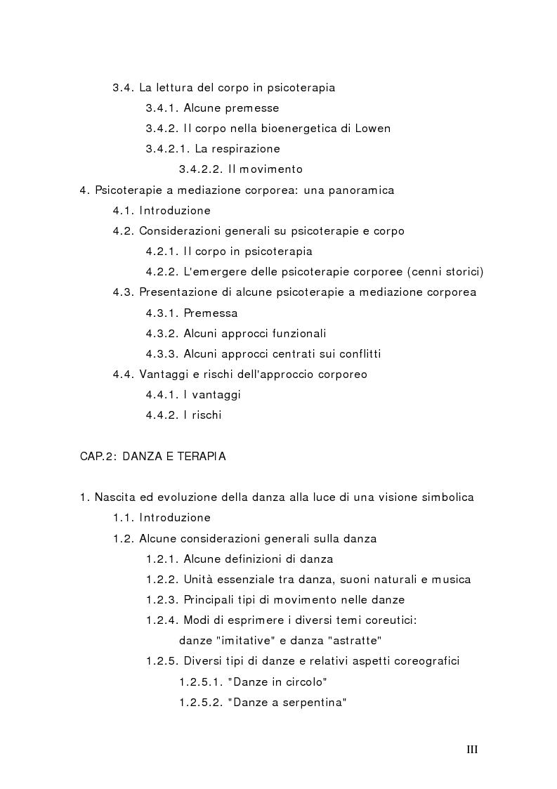 Indice della tesi: Il corpo in psicoterapia. La ''danza terapia'': problemi e prospettive, Pagina 2