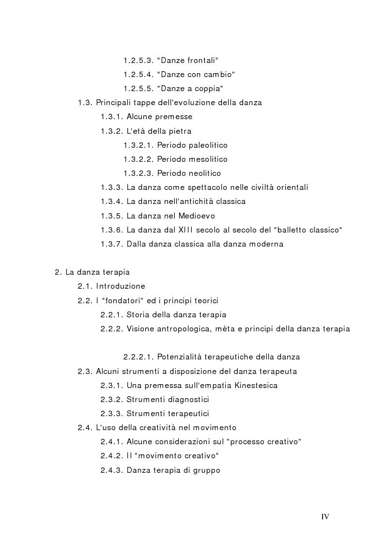 Indice della tesi: Il corpo in psicoterapia. La ''danza terapia'': problemi e prospettive, Pagina 3