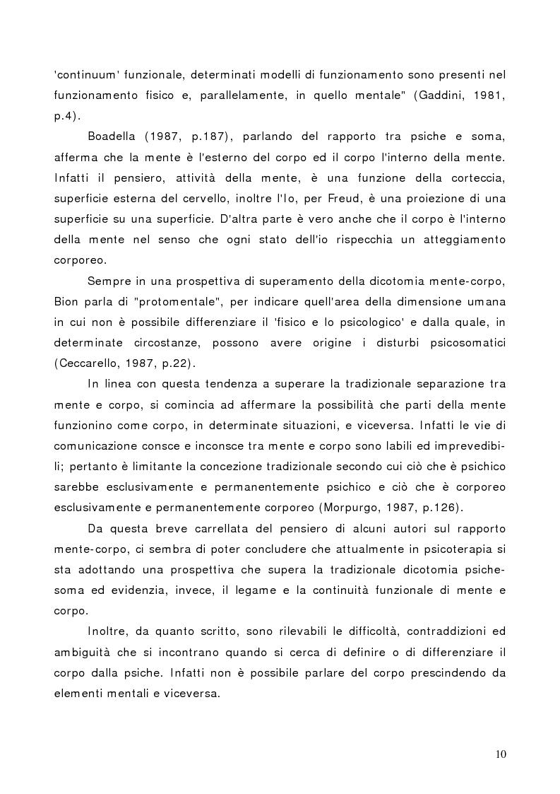 Anteprima della tesi: Il corpo in psicoterapia. La ''danza terapia'': problemi e prospettive, Pagina 10