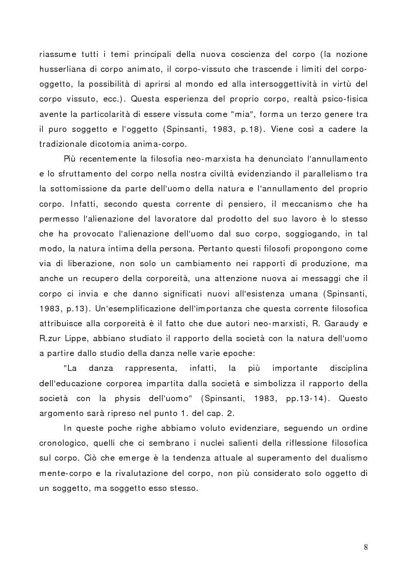Anteprima della tesi: Il corpo in psicoterapia. La ''danza terapia'': problemi e prospettive, Pagina 8