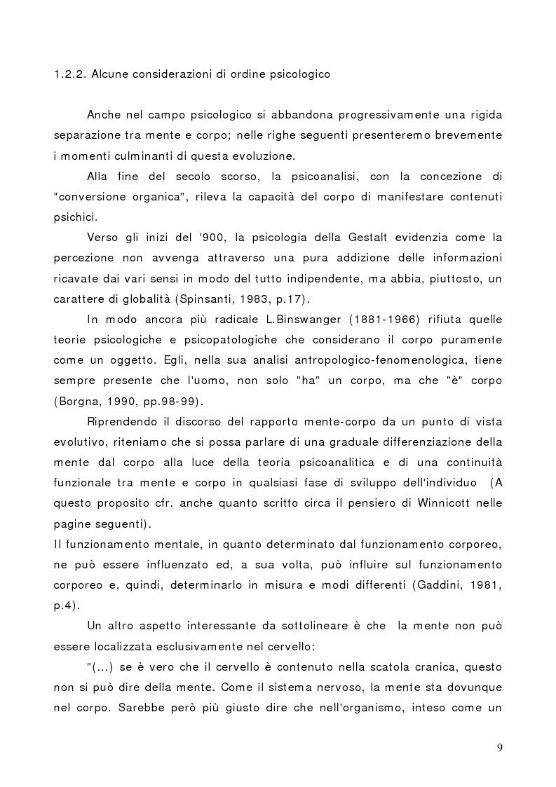 Anteprima della tesi: Il corpo in psicoterapia. La ''danza terapia'': problemi e prospettive, Pagina 9