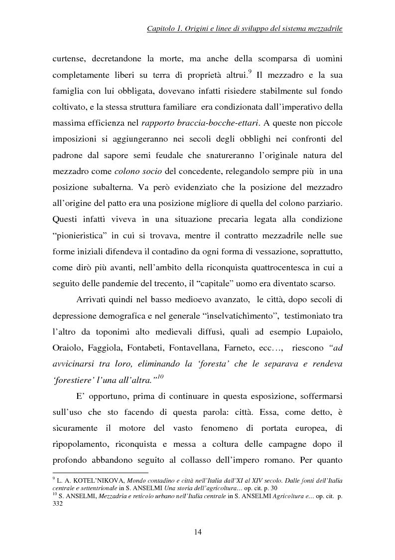 Anteprima della tesi: Il sistema mezzadrile marchigiano tra Ottocento e Novecento, Pagina 13