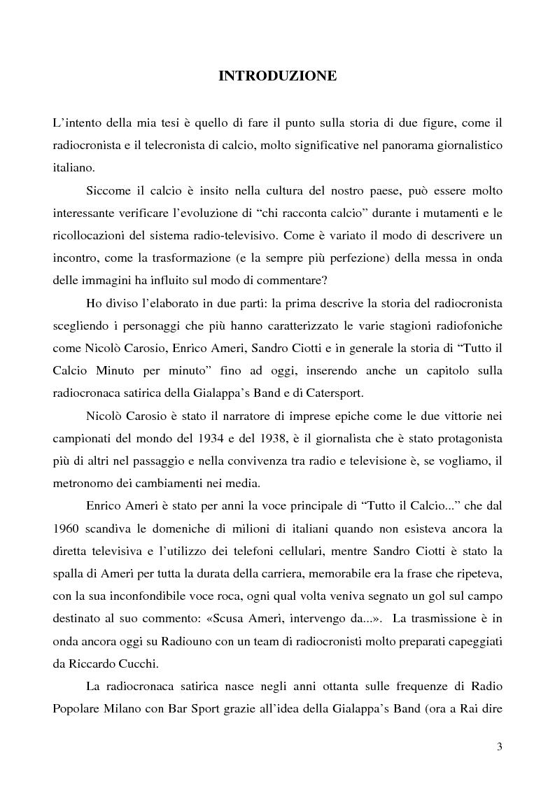 Storia ed evoluzione di radiocronaca e telecronaca calcistica dal 1934 ai giorni nostri - Tesi di Laurea