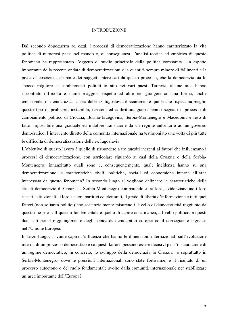 Anteprima della tesi: Processi di democratizzazione: concetti teorici e analisi comparata dei casi di Croazia e Serbia-Montenegro, Pagina 1