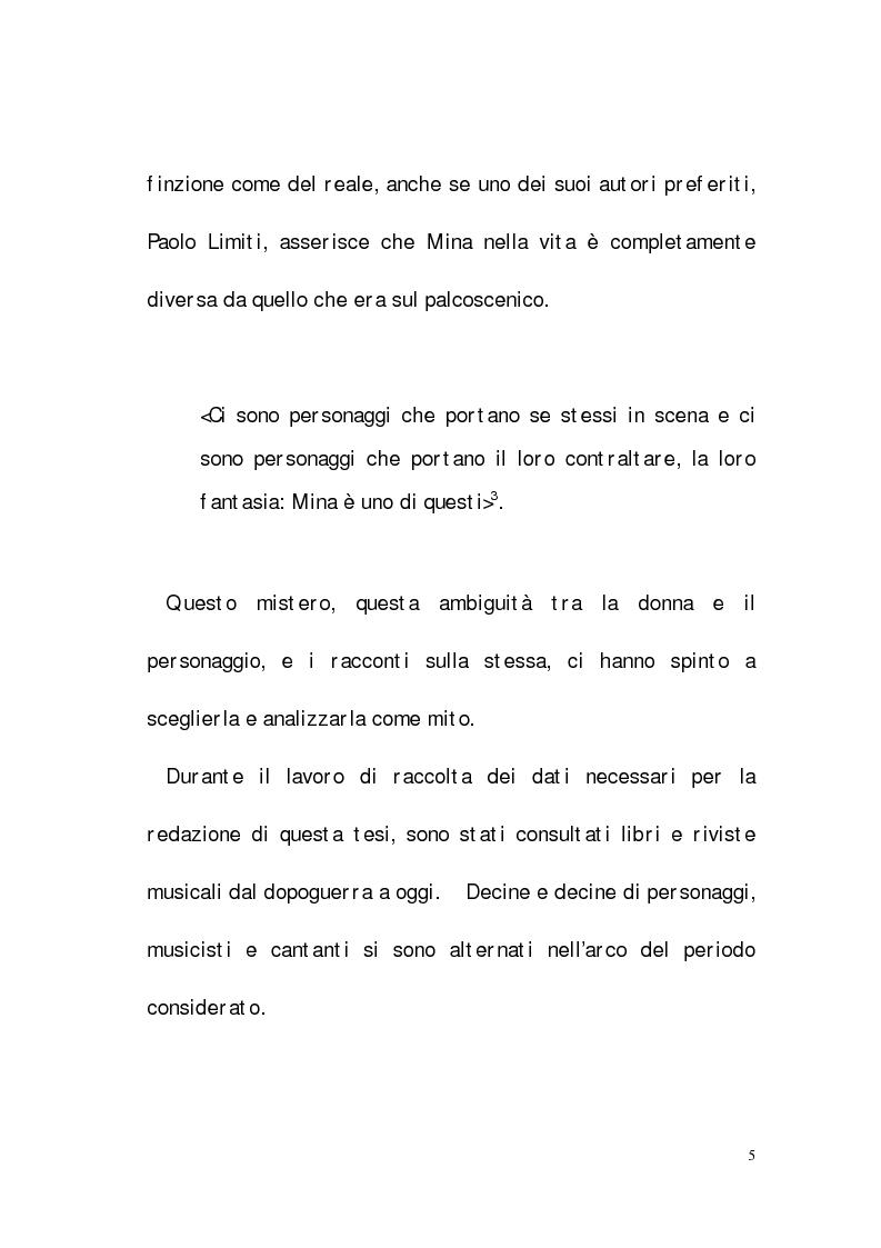Anteprima della tesi: Mina. Trattazione di un mito nel linguaggio dei giornali e nel costume di un paese, Pagina 4