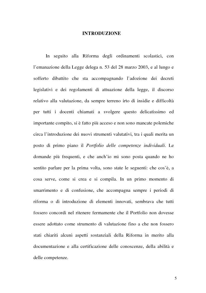 Per un nuovo tipo di valutazione: il Portfolio delle Competenze individuali - Tesi di Laurea