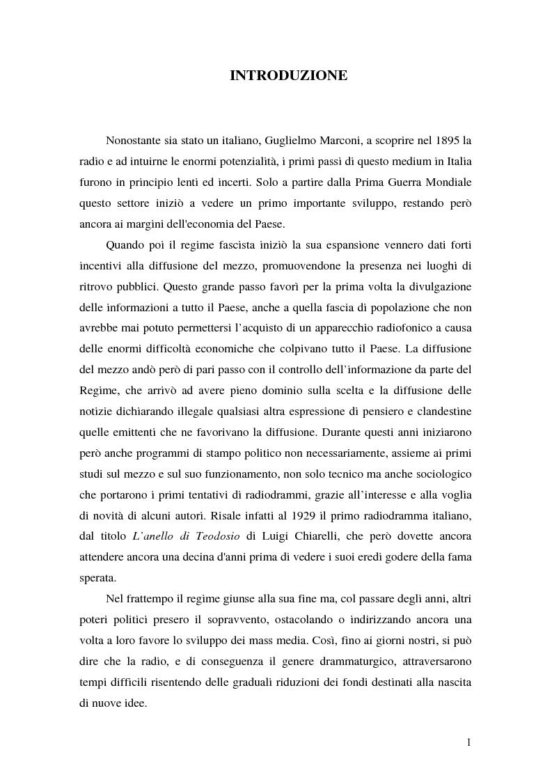 Anteprima della tesi: Un'esperienza radiofonica: un radiodramma per UNIRai, Pagina 1