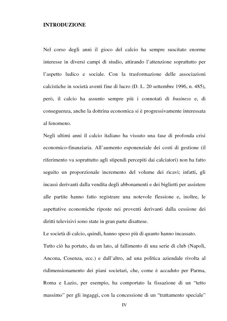 I bilanci delle società di calcio e la valutazione dei diritti pluriennali alle prestazioni dei calciatori - Tesi di Lau...
