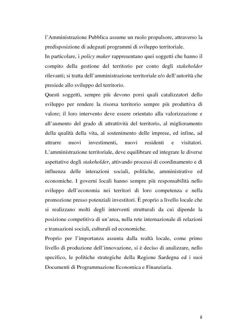 Anteprima della tesi: Gli strumenti del marketing per lo sviluppo di piani strategici territoriali orientati all'innovazione: le politiche strategiche della Regione Sardegna, Pagina 5