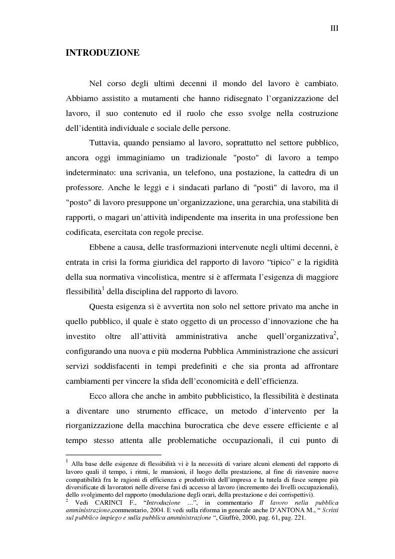 Le forme contrattuali flessibili nel rapporto di lavoro alle dipendenze delle amministrazioni pubbliche - Tesi di Laurea