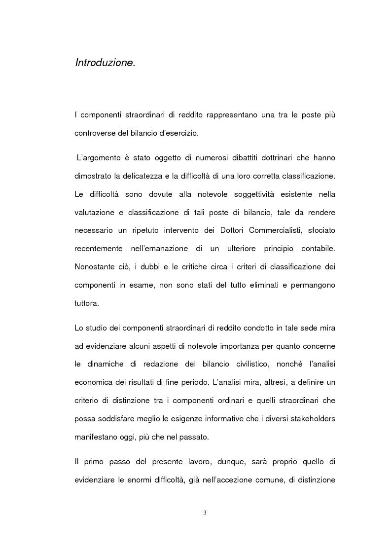 I componenti straordinari di reddito nell'informazione di bilancio - Tesi di Laurea