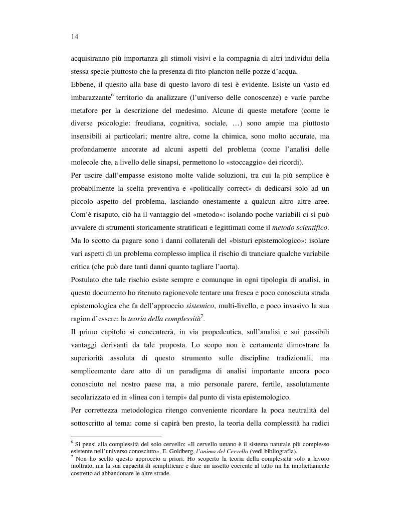 Anteprima della tesi: Dal cervello subcognitivo al progetto di un software per il Knowledge Management. La teoria della complessità applicata alla rappresentazione e valorizzazione della conoscenza., Pagina 9