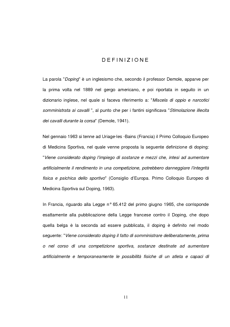 Anteprima della tesi: Qual è il confine tra doping e non doping. Ruolo dell'infermiere nella prevenzione e tutela della salute, Pagina 6