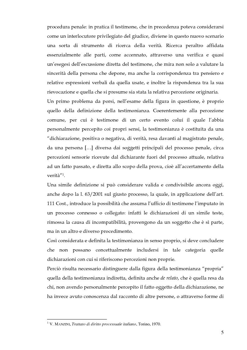 Anteprima della tesi: La testimonianza indiretta nel processo penale, Pagina 2