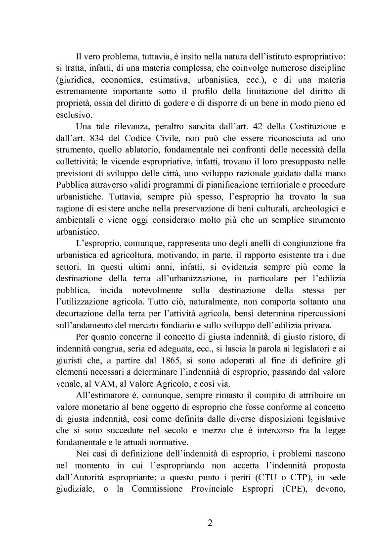 Anteprima della tesi: Un tentativo di verifica della congruità dei Valori Agricoli Medi nel contesto espropriativo, Pagina 2