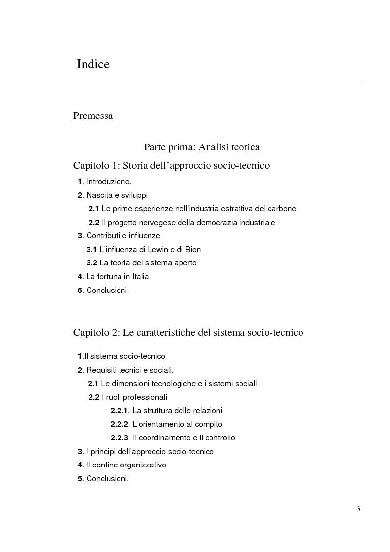 Indice della tesi: Relazioni al lavoro. Significatività dell'approccio socio-tecnico per la descrizione di un servizio sociale, Pagina 1