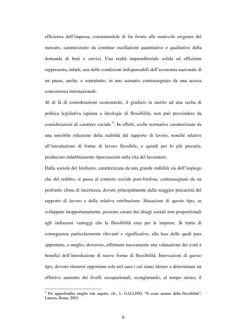 Anteprima della tesi: I processi di esternalizzazione: tra interesse dell'impresa e tutela del lavoratore, Pagina 6