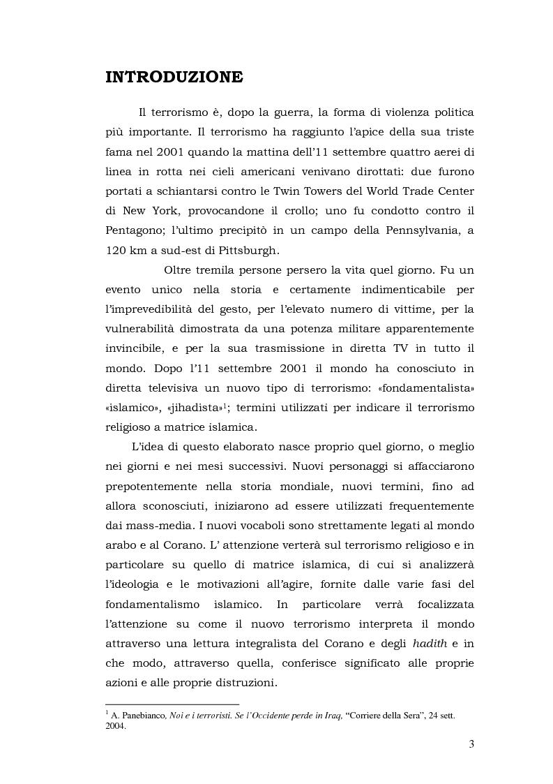 Anteprima della tesi: Linguaggi e simboli del terrorismo. Dal fondamentalismo a Osama Bin Laden, Pagina 1