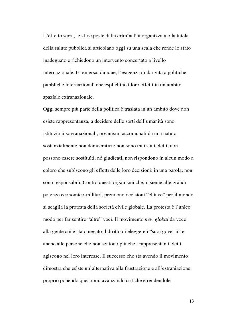 Anteprima della tesi: I movimenti globali come nuova forma di partecipazione politica. Il caso dell'Abruzzo Social Forum., Pagina 11