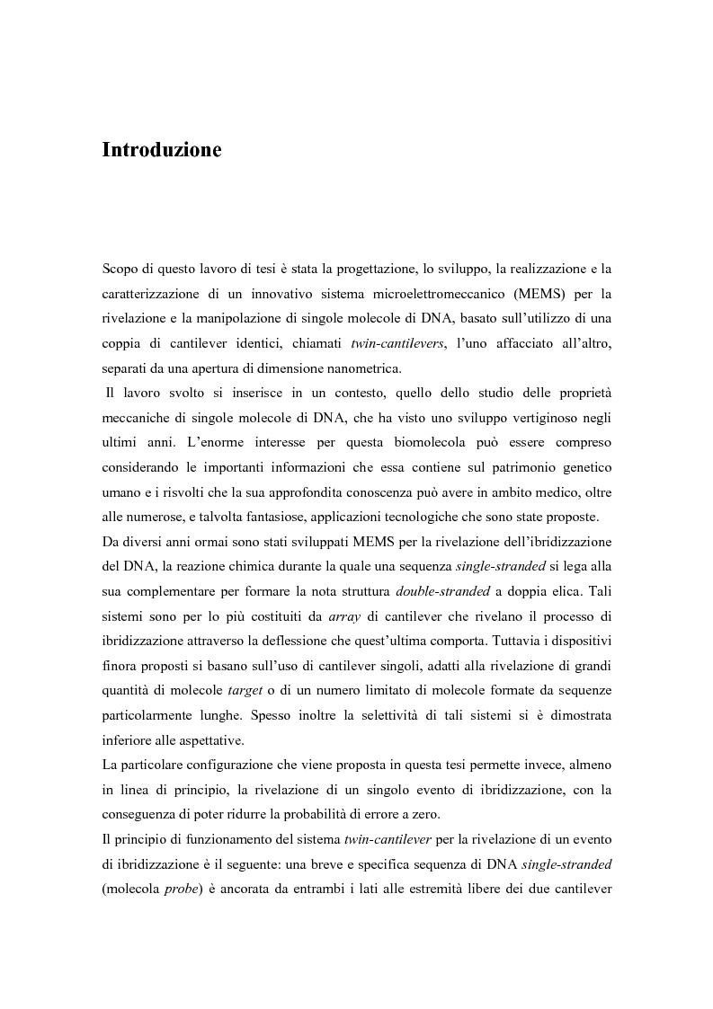 Anteprima della tesi: Twin-cantilevers: un sistema innovativo per la rivelazione dell'ibridizzazione del DNA su singola molecola, Pagina 1