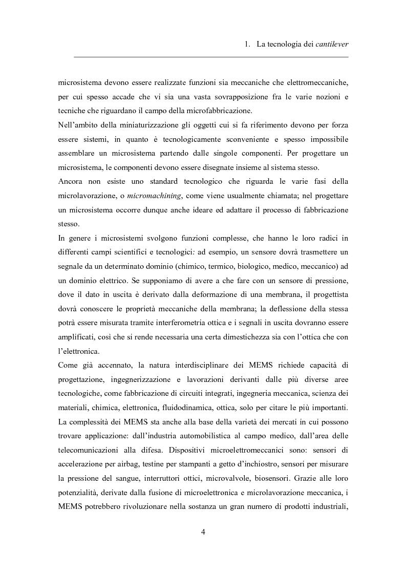 Anteprima della tesi: Twin-cantilevers: un sistema innovativo per la rivelazione dell'ibridizzazione del DNA su singola molecola, Pagina 4