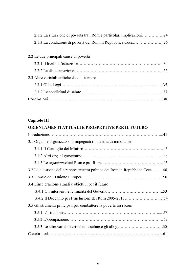 Indice della tesi: La condizione economica dei Rom in Repubblica Ceca: determinanti e possibili soluzioni, Pagina 2