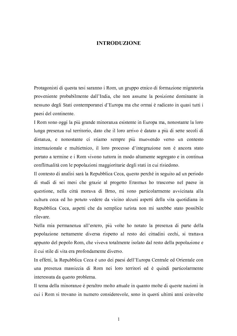 Anteprima della tesi: La condizione economica dei Rom in Repubblica Ceca: determinanti e possibili soluzioni, Pagina 1