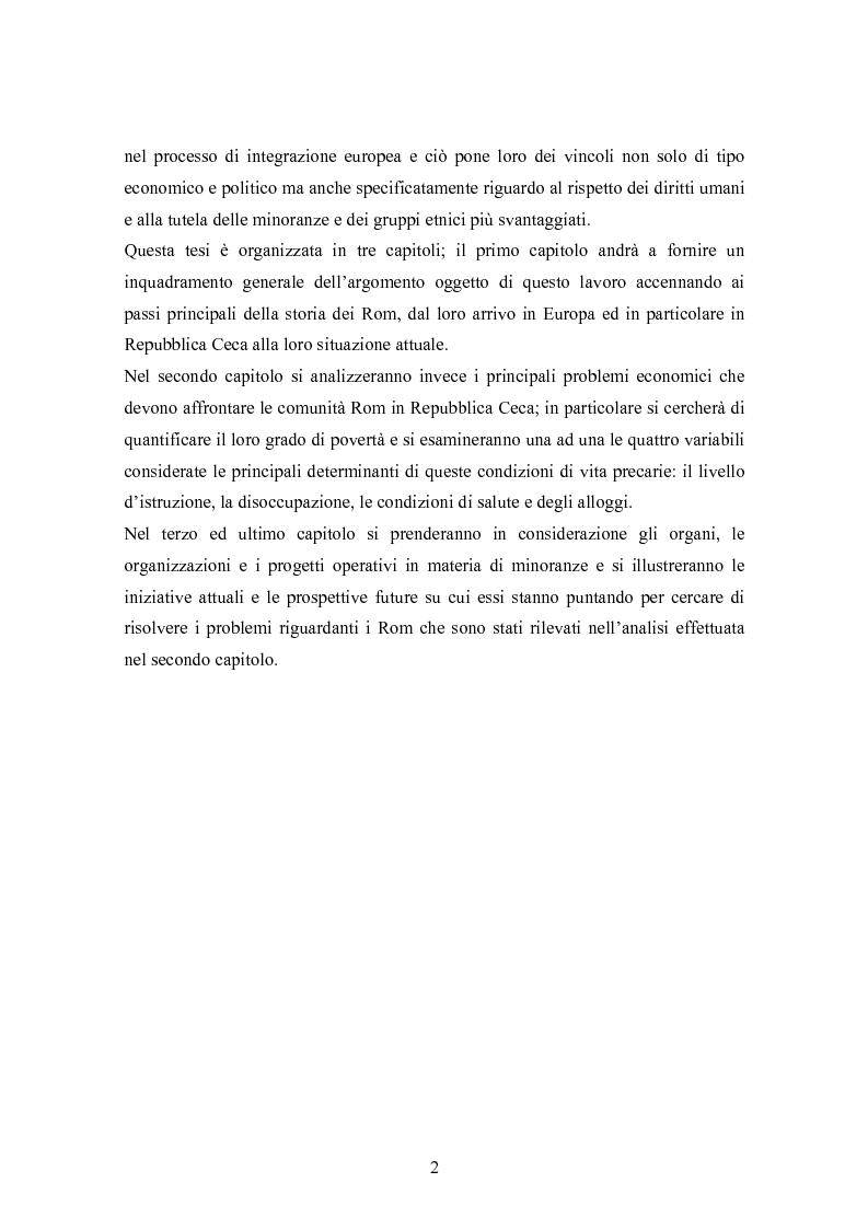 Anteprima della tesi: La condizione economica dei Rom in Repubblica Ceca: determinanti e possibili soluzioni, Pagina 2
