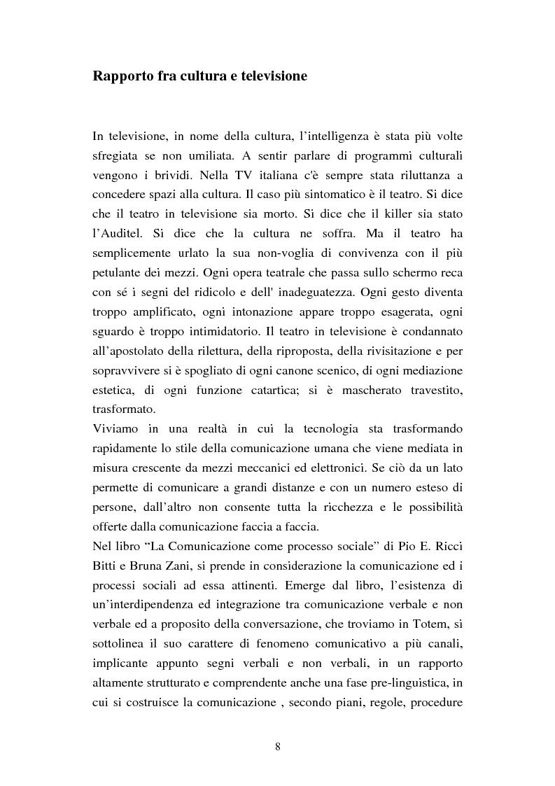 Anteprima della tesi: Totem, un teatro diegetico in televisione, Pagina 5