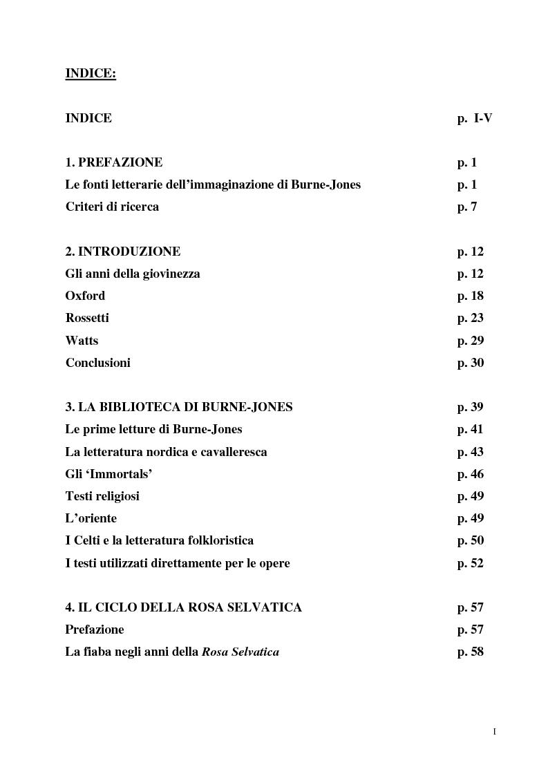 Indice della tesi: La pittura di Sir Edward Burne-Jones e le sue fonti letterarie, Pagina 1